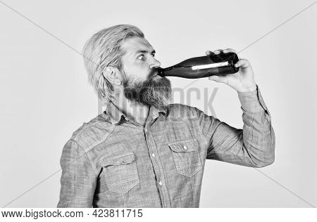 Refreshing Lemonade. Making Homemade Kombucha. Soda Drink. Hipster At Bar. Man Beard And Mustache Ho