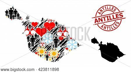 Rubber Antilles Seal, And Heart Population Vaccine Mosaic Map Of Heard And Mcdonald Islands. Red Rou