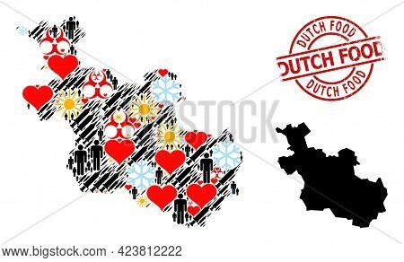 Rubber Dutch Food Stamp Seal, And Winter Patients Vaccine Collage Map Of Overijssel Province. Red Ro