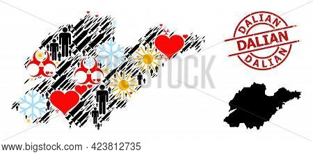 Rubber Dalian Stamp Seal, And Winter People Vaccine Mosaic Map Of Shandong Province. Red Round Stamp