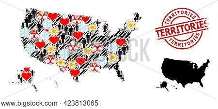 Scratched Territories Seal, And Sunny Man Vaccine Collage Map Of Usa Territories. Red Round Stamp Se
