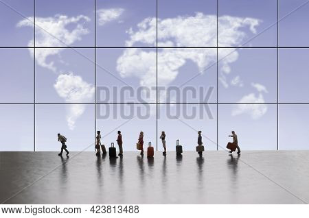 Miniature People In Queue At Airport Terminal With Cloud Map Of World Through Window