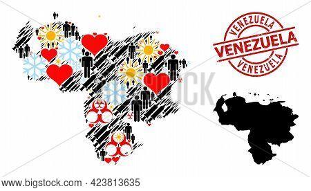Distress Venezuela Seal, And Heart Man Vaccine Mosaic Map Of Venezuela. Red Round Seal Has Venezuela