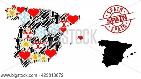Distress Spain Stamp Seal, And Spring Demographics Vaccine Mosaic Map Of Spain. Red Round Stamp Seal