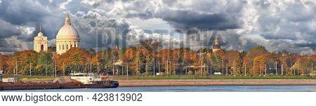 autumn landscape with Saint Alexander Nevsky Monastery and Neva river in Saint Petersburg, Russia
