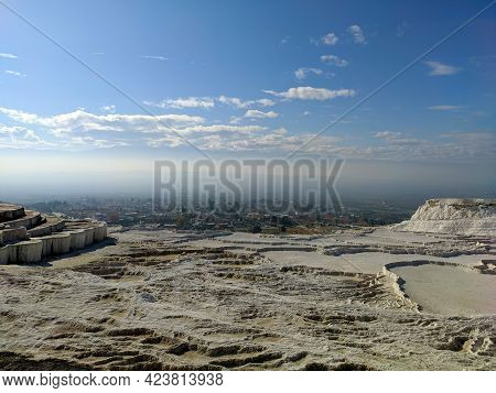 The Snow-white Travertines Of Pamukkale Are A Unique Attraction In Turkey, A Natural And Cultural Si
