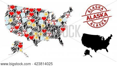 Grunge Alaska Stamp Seal, And Lovely People Infection Treatment Collage Map Of Usa And Alaska. Red R