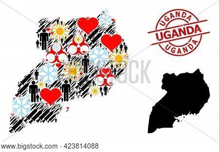 Grunge Uganda Stamp Seal, And Lovely Man Syringe Collage Map Of Uganda. Red Round Stamp Has Uganda T