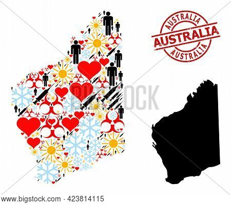 Distress Australia Stamp Seal, And Sunny Humans Covid-2019 Treatment Collage Map Of Western Australi
