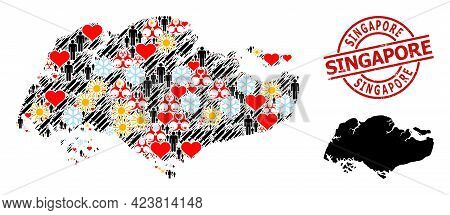 Textured Singapore Seal, And Winter People Infection Treatment Collage Map Of Singapore. Red Round S