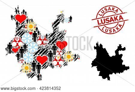 Rubber Lusaka Stamp Seal, And Frost Demographics Inoculation Mosaic Map Of Yunnan Province. Red Roun