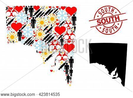 Rubber South Stamp Seal, And Spring People Inoculation Collage Map Of South Australia. Red Round Sta
