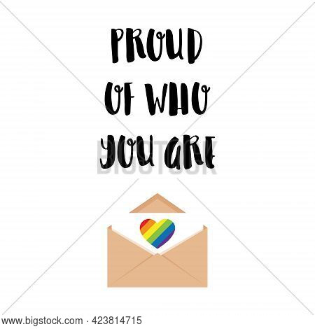 Vertical Poster. An Open Envelope With A Letter With A Heart In The Colors Of The Lgbtq Flag. Proud