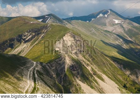 Panoramic View From Monte Bove Sud During Cloudy Spring Day In The National Park Of Monti Sibillini,