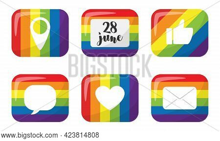 A Set Of Stickers With Elements Of Social Networks. Rectangular Buttons With The Colors Of The Month
