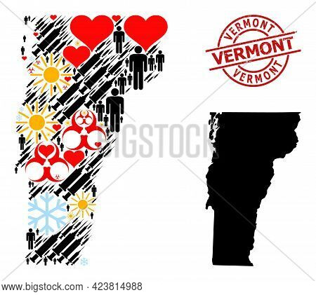 Textured Vermont Stamp Seal, And Frost Humans Inoculation Collage Map Of Vermont State. Red Round St
