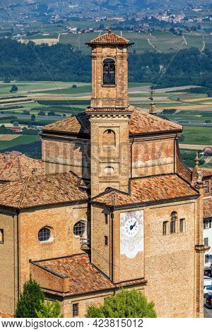 View of old brick church in small town of Guarene in Piedmont, Northern Italy.
