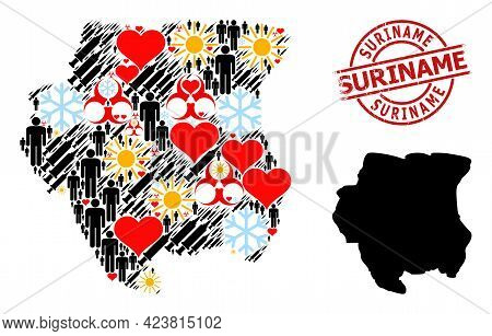 Grunge Suriname Stamp, And Winter People Covid-2019 Treatment Collage Map Of Suriname. Red Round Sta