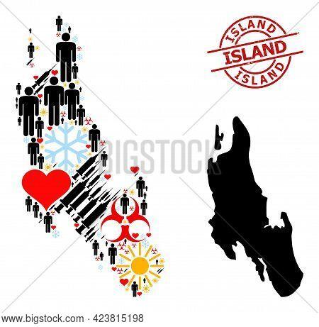Distress Island Badge, And Sunny People Inoculation Collage Map Of Zanzibar Island. Red Round Badge