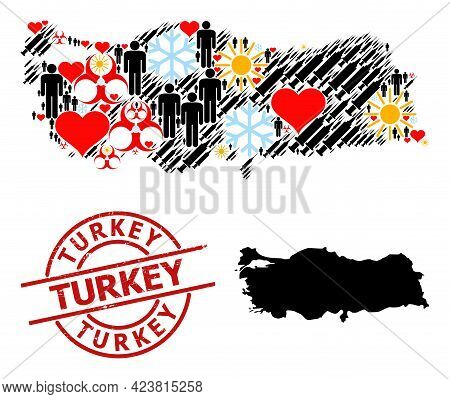 Textured Turkey Stamp Seal, And Frost Patients Covid-2019 Treatment Collage Map Of Turkey. Red Round