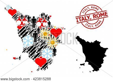 Rubber Italy, Rome Stamp, And Heart Man Inoculation Mosaic Map Of Tuscany Region. Red Round Seal Inc