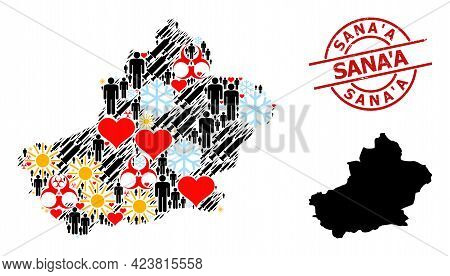 Rubber Sanaa Seal, And Frost Men Inoculation Mosaic Map Of Xinjiang Uyghur Region. Red Round Seal Ha