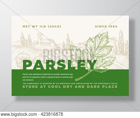 Parsley Label Template. Abstract Vector Packaging Design Layout. Modern Typography Banner With Hand