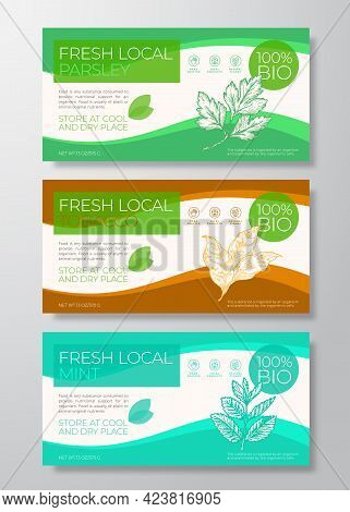 Fresh Local Plants Label Templates Set. Abstract Vector Packaging Horizontal Design Layouts Collecti