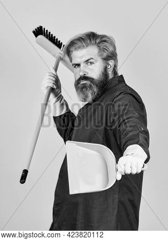 Janitor Professional. Bearded Hipster Blue Uniform With Broom. Gardener Cleaning Service Man. Garbag