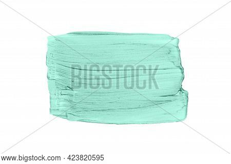 Big Rectangular Blue Or Mint Brush Strokes Or Smears Isolated On White Background. Top View. Mock Up