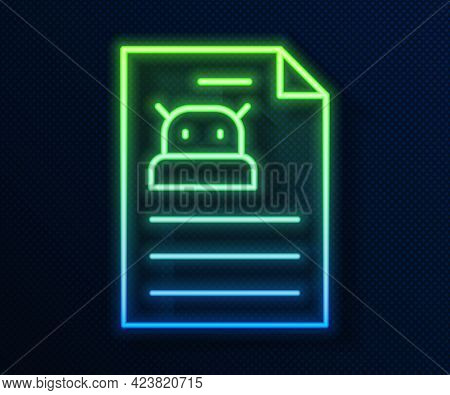 Glowing Neon Line Technical Specification Icon Isolated On Blue Background. Technical Support Check