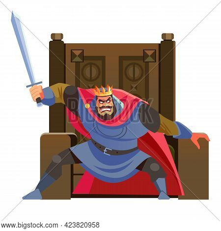 Anger. The Evil King Expresses His Negative Emotions. Emperor Character With Sword In Hand, Shouting