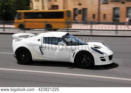 Kiev, Ukraine - May 22, 2021: Lotus Exige S In Motion. English Supercar On The Road