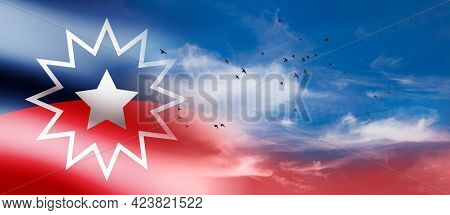 Juneteenth Flag With Flying Birds In Blue Cloudy Sky. Since 1865. Design Of Banner With Place For Te