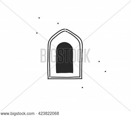 Hand Drawn Vector Abstract Stock Flat Graphic Illustration With Logo Element Of Line Arch Art In Sim