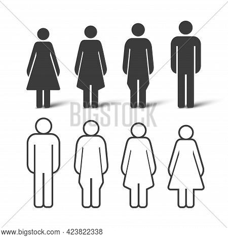 Silhouette And Outline People Set. People Icons Of Different Shapes. Vector Illustration