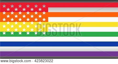 Usa Flag Supporting Lgbt Community Vector Illustration. America Flag. Vector Icon. Usa Silhouette Ma