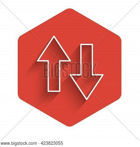 White Line Arrow Icon Isolated With Long Shadow Background. Direction Arrowhead Symbol. Navigation P