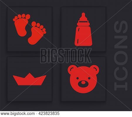 Set Teddy Bear Plush Toy, Baby Footprints, Baby Bottle And Folded Paper Boat Icon. Vector
