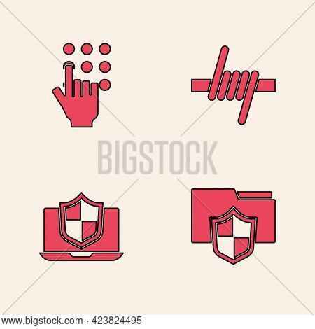 Set Document Folder Protection, Password, Barbed Wire And Laptop Protected With Shield Icon. Vector