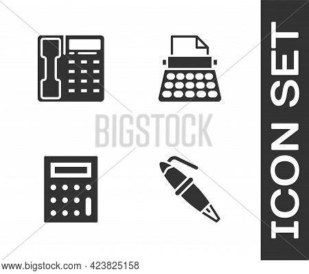 Set Fountain Pen Nib, Telephone Handset, Calculator And Retro Typewriter Icon. Vector