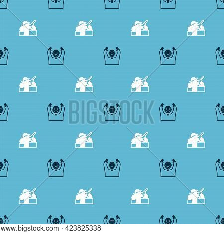 Set Thief Surrendering Hands Up And Murder On Seamless Pattern. Vector