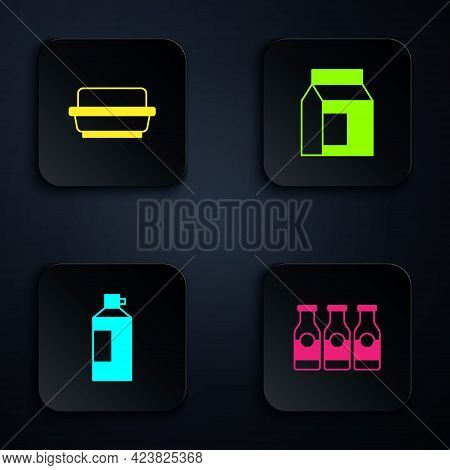 Set Bottle With Milk, Butter In A Butter Dish, Whipped Cream Bottle And Paper Package For. Black Squ