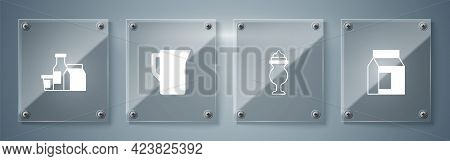 Set Paper Package For Milk, Milkshake, Jug Pitcher And Product. Square Glass Panels. Vector