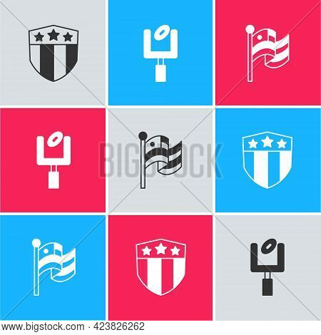Set Shield With Stars, American Football Goal Post And Flag Icon. Vector