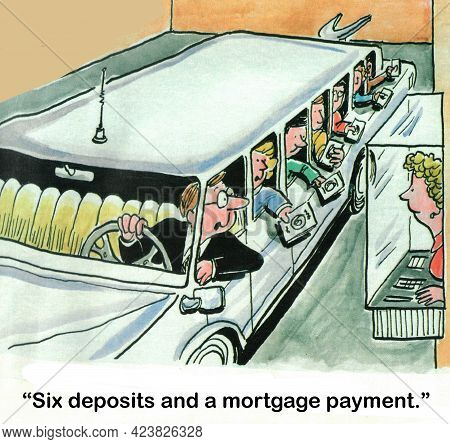 A Limousine Driver Pulls Up To Bank Deposit Window.