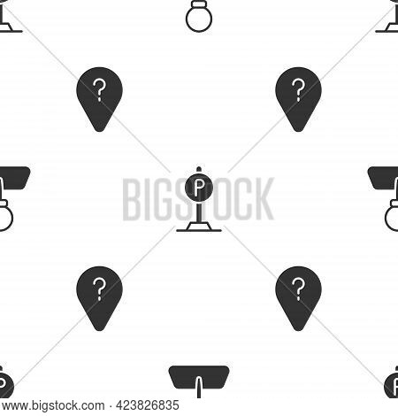 Set Push Pin, Parking And Unknown Route Point On Seamless Pattern. Vector
