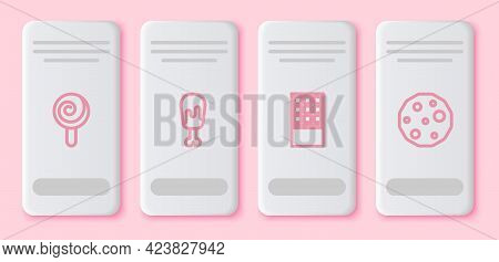 Set Line Lollipop, Chicken Leg, Chocolate Bar And Cookie Or Biscuit. White Rectangle Button. Vector