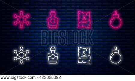Set Line Tequila Bottle, Wanted Western Poster, Hexagram Sheriff And Bomb Ready To Explode. Glowing