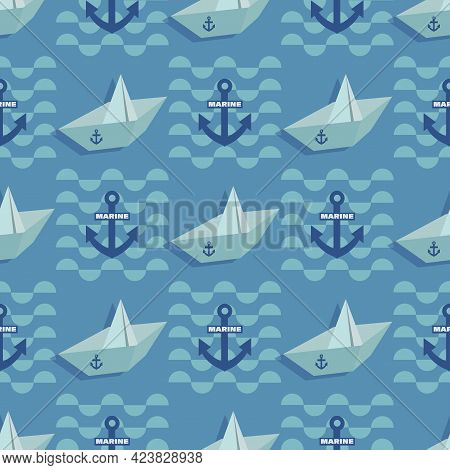 Paper Boat, Anchor. Marine Wave Background. Vector Geometric Template. Seamless Pattern For Textile.